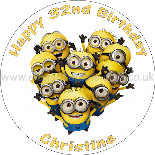 Terrific Minions Round Edible Birthday Cake Topper Funny Birthday Cards Online Sheoxdamsfinfo